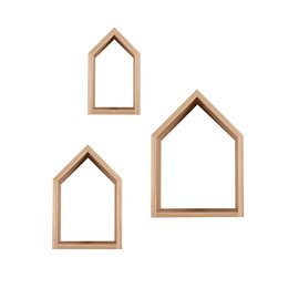 House Shaped Nursery Shelves - Set of 3 Natural
