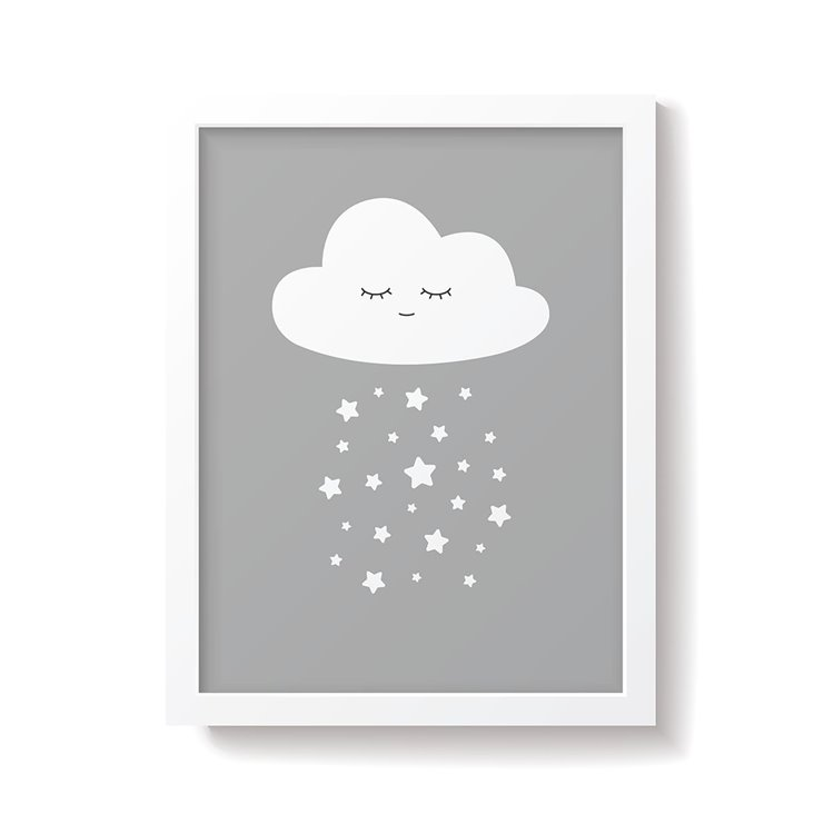 'Cloud' Grey Nursery Print
