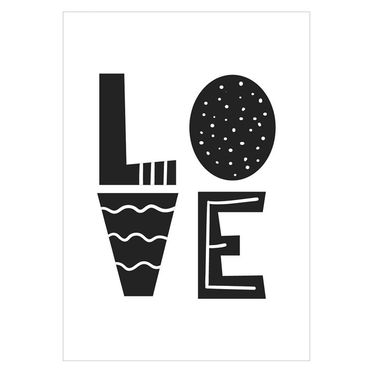 'Love' Monochrome Nursery Print