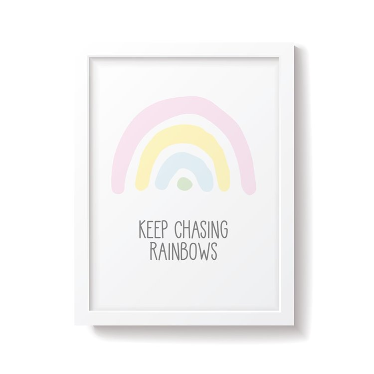 'Keep Chasing Rainbows' Pastel Nursery Print