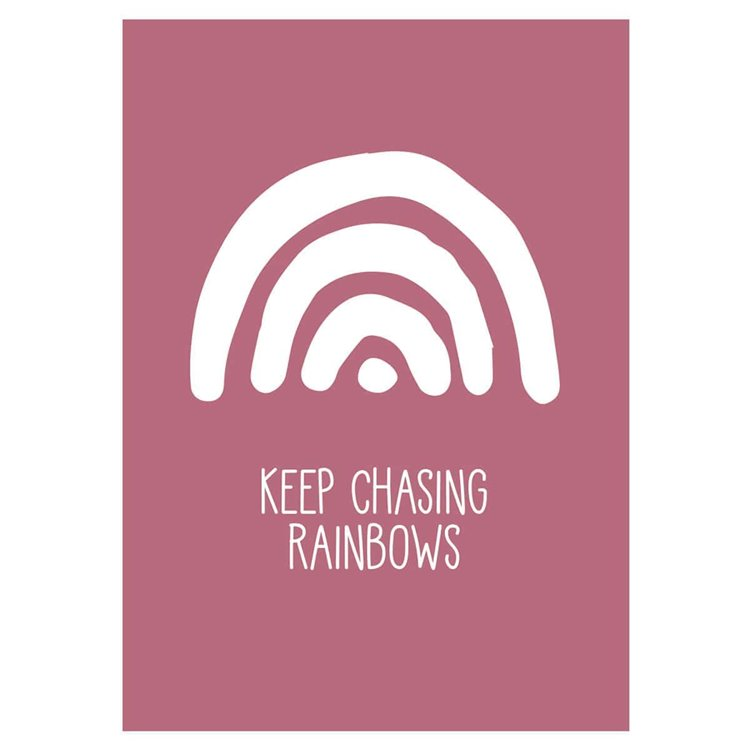 'Keep Chasing Rainbows' Red Nursery Print