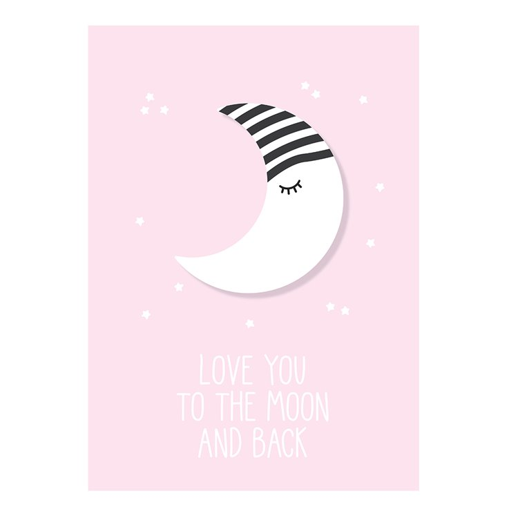 'To The Moon & Back' Pink Nursery Print
