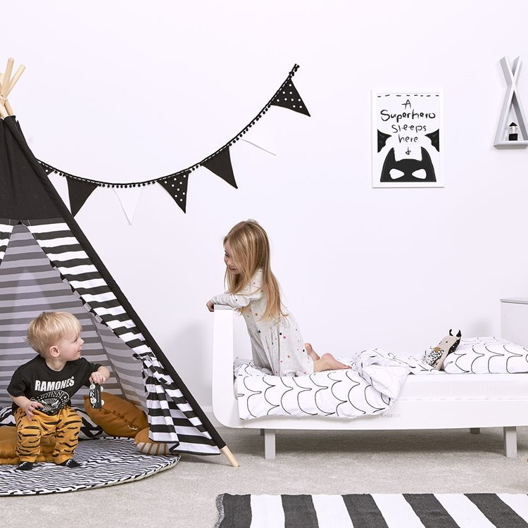 'A Superhero Sleeps Here' Monochrome Nursery Print