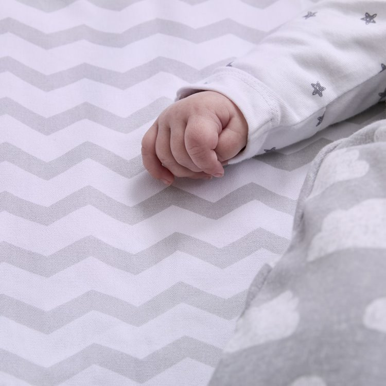 Baby Playmat - Grey Chevron Striped
