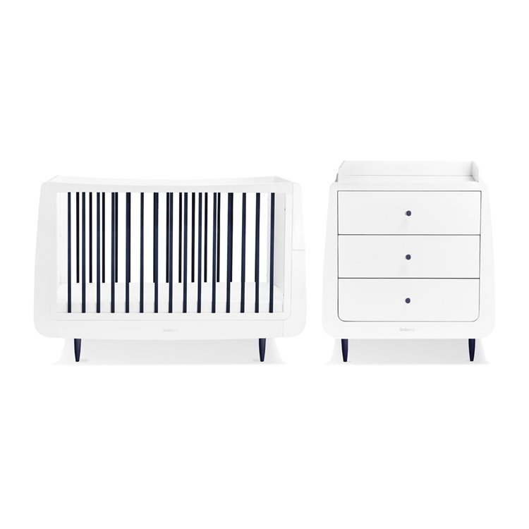 SnuzKot Skandi 2 Piece Nursery Furniture Set Metallics Navy