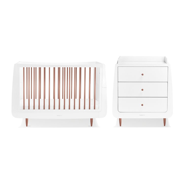 SnuzKot Skandi 2 Piece Nursery Furniture Set Metallics Rose Gold