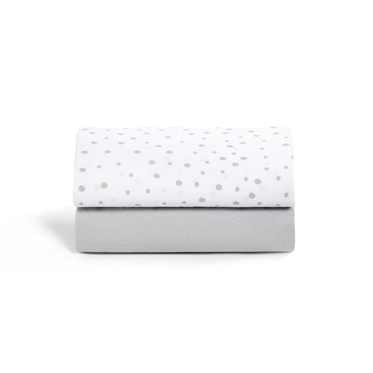 Crib 2 Pack Fitted Sheets - Grey Spots