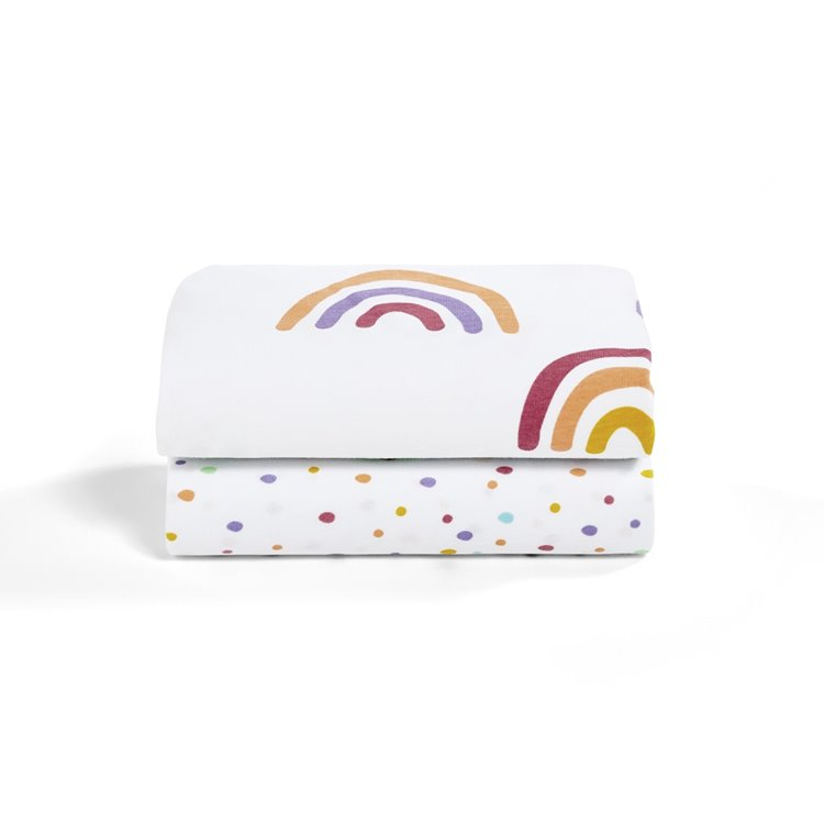 Crib 2 Pack Fitted Sheets - Colour Rainbow