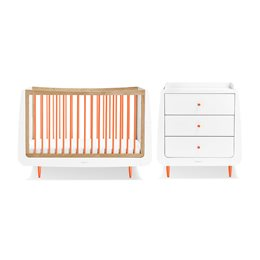 SnuzKot Skandi 2 Piece Nursery Furniture Set Orange